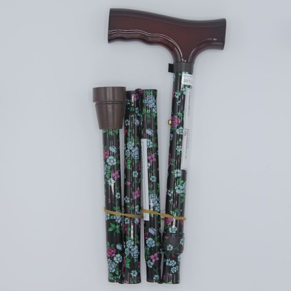 Black Rose Folding Floral Stick