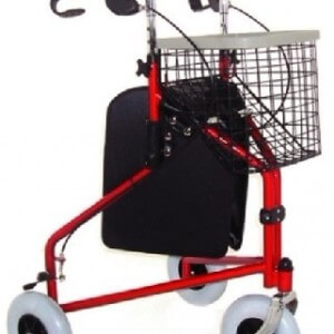 Three wheels walker with bag and basket