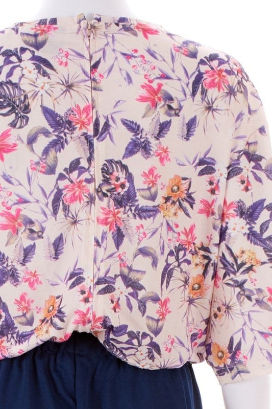 Purple Floral Top and Navy Pants Ladies Dignity Suit