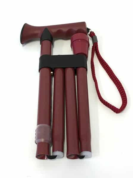 Folding Cane Red Pearl Finish TPR Grip