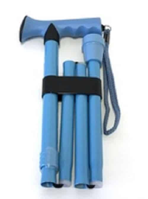Folding Cane Aqua Blue Pearl Finish TPR Grip